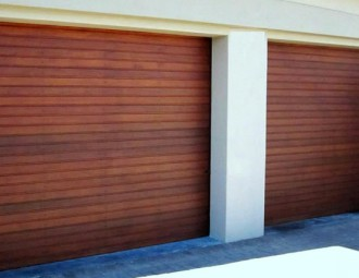 Single Meranti Sectional doors (Horizontal, 88mm slats)